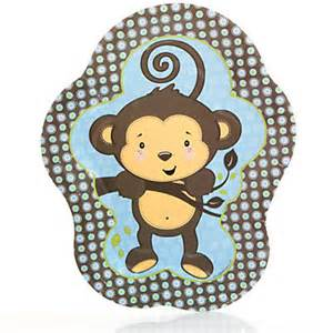 blue monkey boy baby shower dinner plates 8 ct