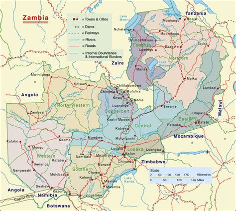 printable map of zambia zambia detailed regions map detailed regions map of
