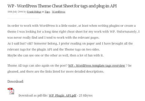 wordpress template tags cheat sheet pdf image collections