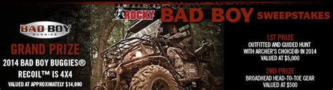 Bad Boy Buggies Sweepstakes - hunting gear giveaway
