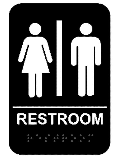 men and women bathroom sign black unisex ada braille restroom sign name tag wizard