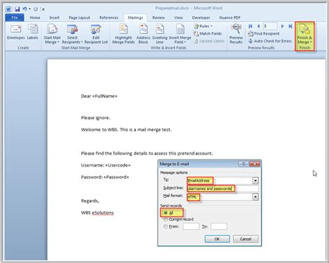 format email address outlook mail merge