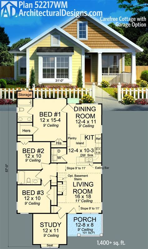 how many square feet is a 1 car garage plan 52217wm carefree cottage with garage option square