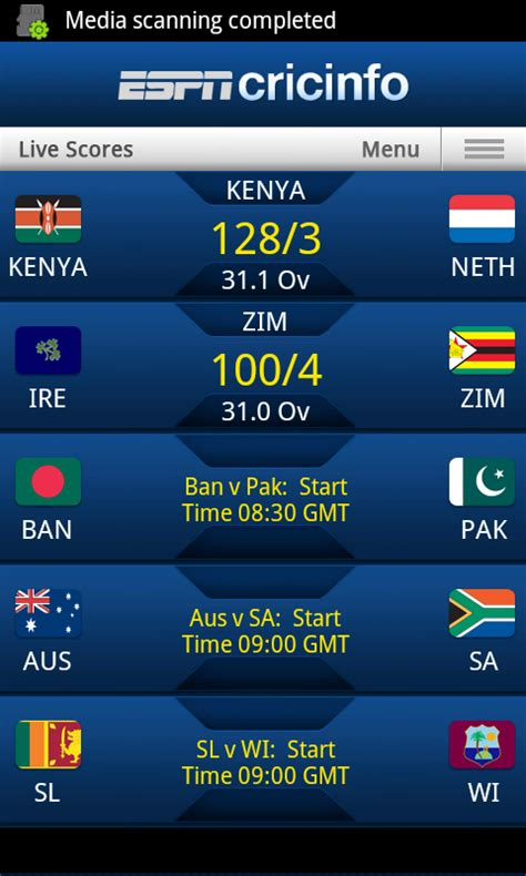espn app android cricinfo any way to display live cricket scoreboard on website