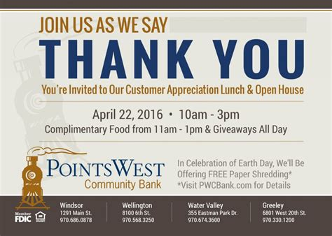 Customer Appreciation Day At Pwcb Points West Community Bank Colorado Customer Appreciation Invitations Templates