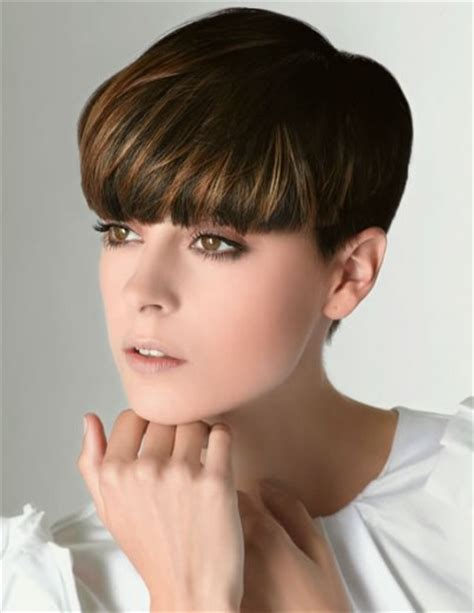 very short hairstyles with fringesport short pixie cut with thick bangs that compliment the face