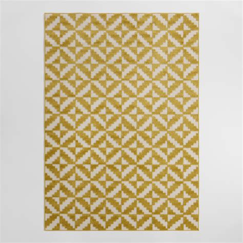 Yellow And White Outdoor Rug 4 9 X6 9 Yellow And White Geo Flatweave Indoor Outdoor Rug World Market
