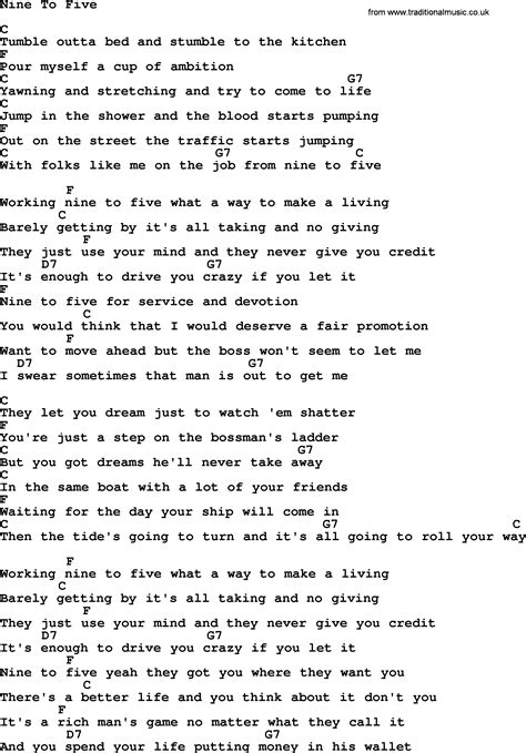 song 9 to 5 dolly parton song nine to five lyrics and chords