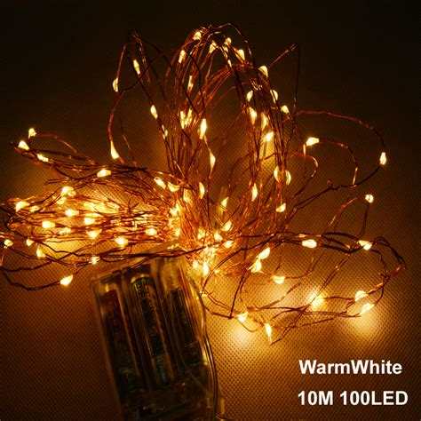 10m 33ft 100 led 3aa battery powered outdoor led copper