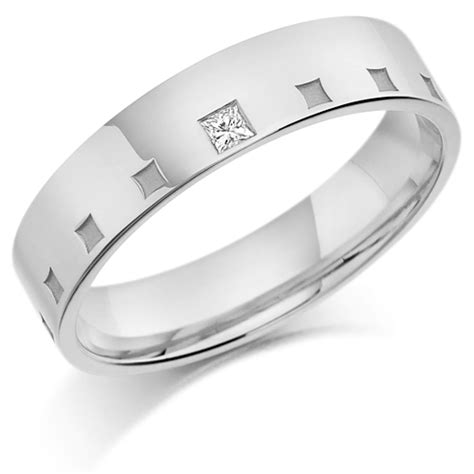 platinum gents 5mm wedding ring frosted squares all around
