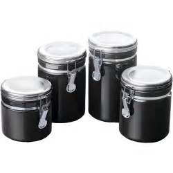 Canisters Kitchen Ceramic Kitchen Canisters Black Set Of 4 In Plastic