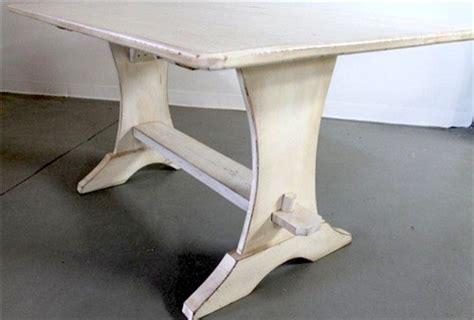 White Trestle Table From Reclaimed Barn Wood Farmhouse White Trestle Table Desk