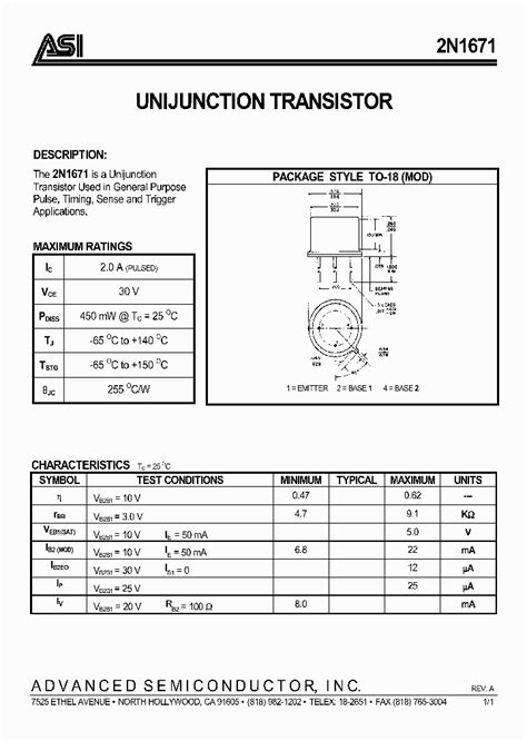 datasheet transistor ujt 2n2646 2n2646 ujt datasheet pdf the best free software for your helperdictionary