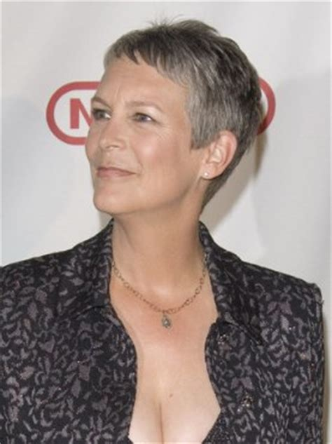 Jamie Lee Curtis with silver hair   Classy and very short
