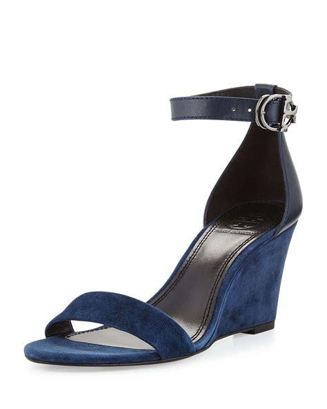 blue wedge sandals lyst burch thames suede wedge sandal in blue