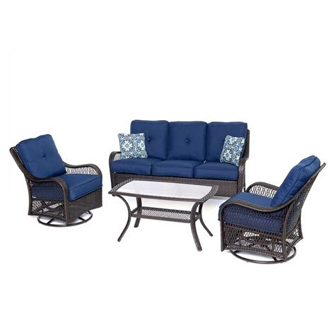 Shop Hanover Outdoor Furniture Orleans 4 Piece Wicker Patio Conversation Set with Navy Cushions