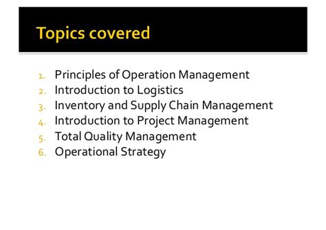 Supply Chain Management Notes For Mba Students by Application Of Operations Management