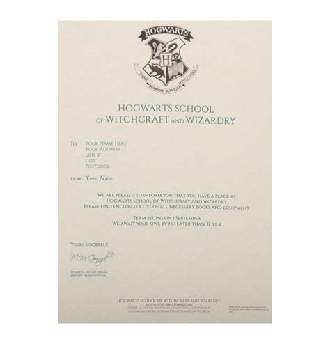 Hogwarts Acceptance Letter Replica Personalised Hogwarts Acceptance Letter Harry Potter Letter