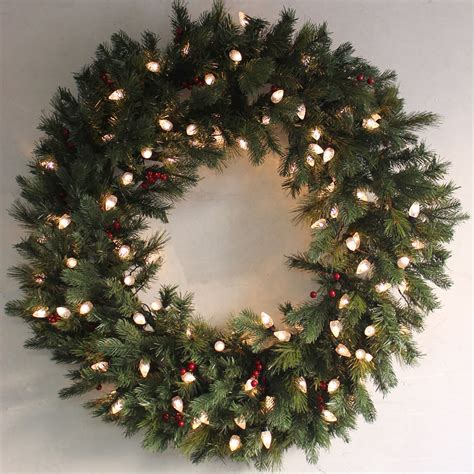 pre lit green pine christmas wreath decoration