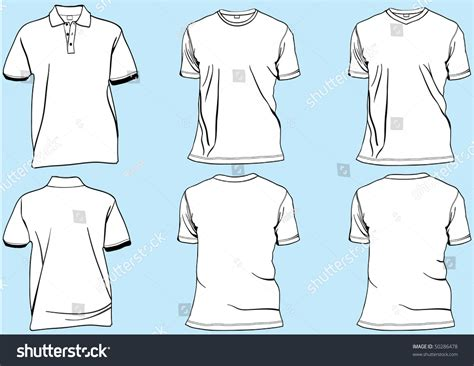 shirt golf tshirt set template collarvneck stock vector