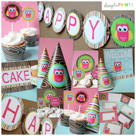 printable owl party decorations owl girl deluxe party package dimple prints shop