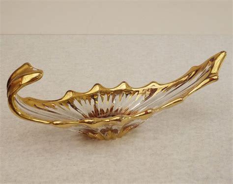 gondola boat centerpiece mid century gondola boat shaped gold gilded glass dish