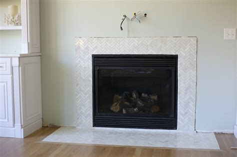 tile for fireplace surround how to install a marble herringbone fireplace surround and