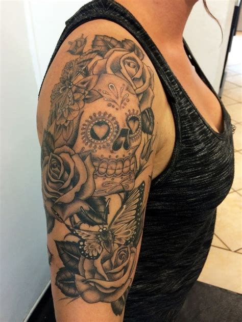half sleeve skull tattoos sugar skull half sleeves creativefan