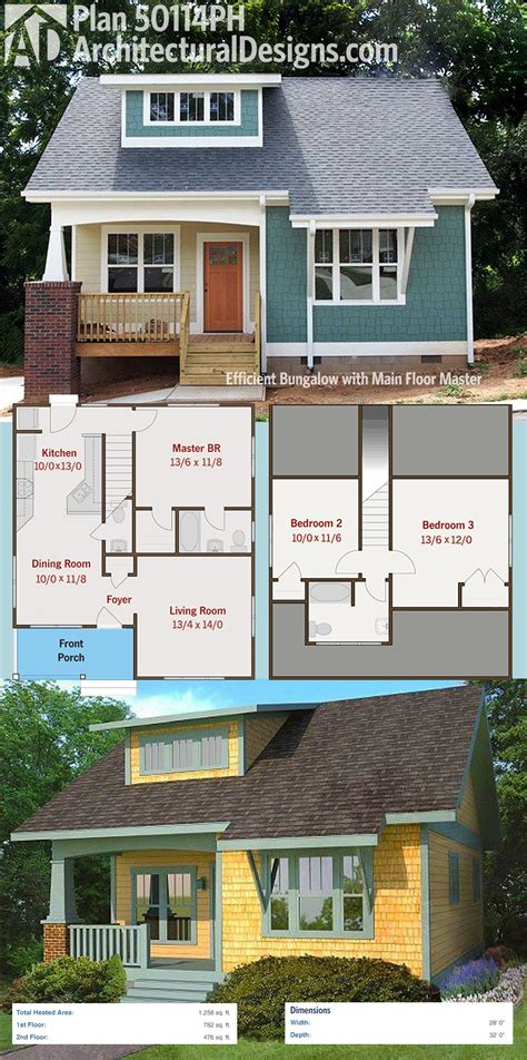 small home floor plans dormers plan 50114ph efficient bungalow with main floor master