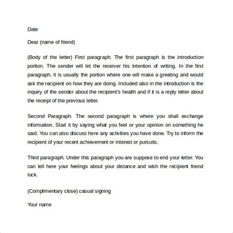 how to end a friendly letter 10 friendly letters sles exles formats