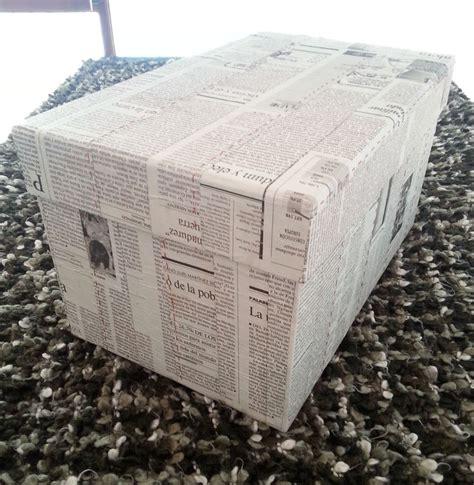 decorar cajas de carton con hilo caja de cart 243 n forrada con papel de peri 243 dico y con