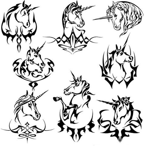 unicorn tribal tattoo tribal unicorn set ink unicorns
