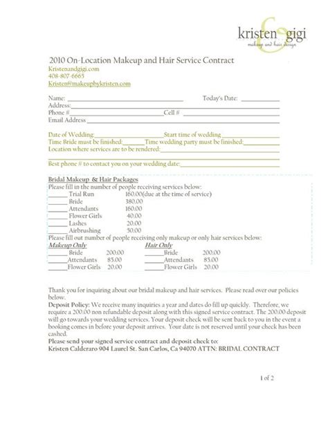 Photoshoot Contract Template makeup artist contract for photo shoot mugeek vidalondon