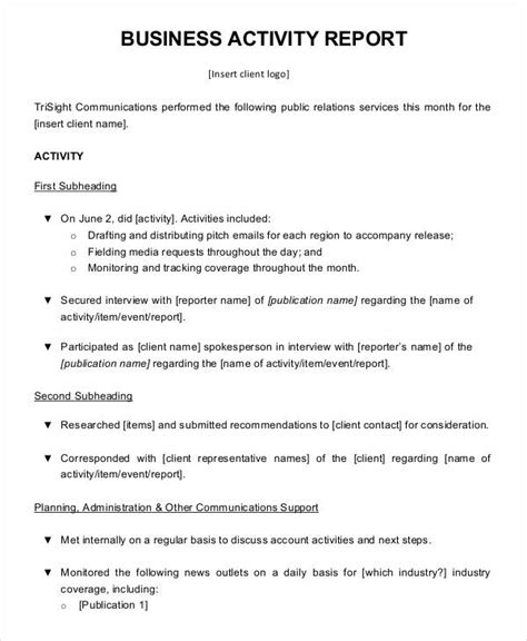 business format report template business activity report templates 8 free pdf format