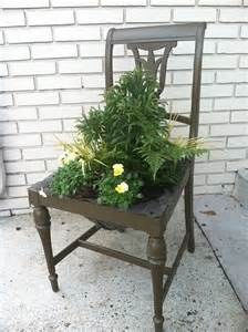 planter made out of an chair