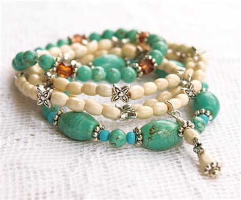 stretch beaded bracelets turquoise stretch bead bracelets with white and silver