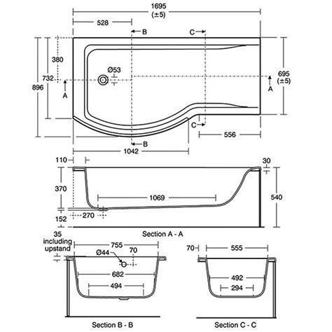 Ideal Standard Shower Bath 1700 ideal standard concept 1700 x 700mm left handed shower bath