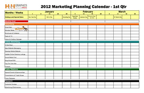 marketing plan template excel marketing calendar template cyberuse