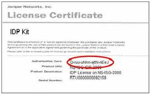 software license certificate template juniper networks how do i find the idp license and nsm