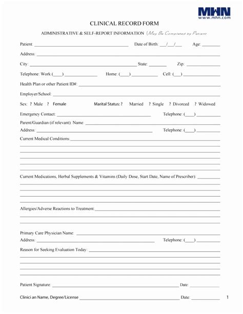 10 11 Patient History Forms Templates Lascazuelasphilly Com Personal Health Record Template Pdf