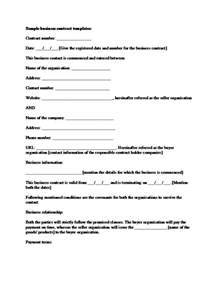 Business Contract Template by Sle Business Contract Template