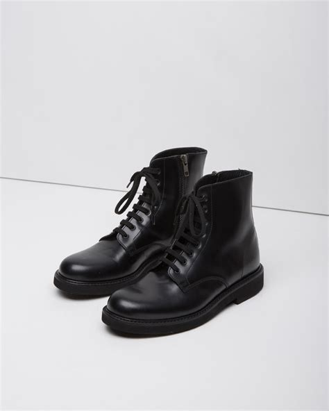 black leather combat boots for lyst common projects lace up leather combat boots in black
