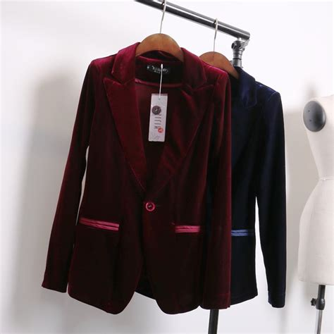 ladies jacket design aliexpress com buy red blue velvet blazer women bleu