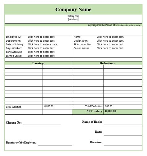 8 salary slip format templates microsoft word templates