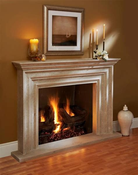 Omega Fireplace mantel of stone   Traditional   Living
