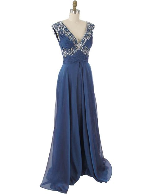 blue beaded gown beaded iridescent blue chiffon evening gown vintage style