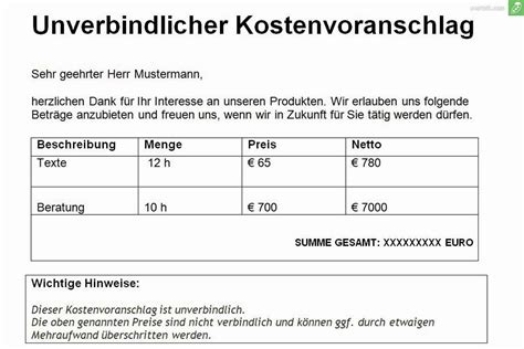 Brief Anfrage Kostenvoranschlag Gratis Kostenvoranschlag Vorlage Muster