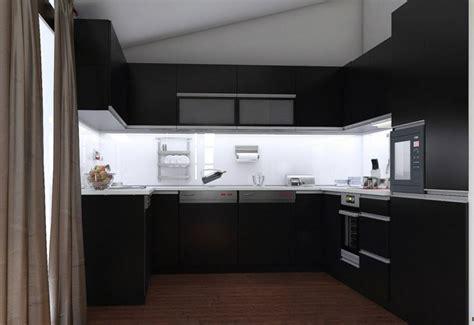Charmant Plan De Travail Pour Petite Cuisine #7: cuisine-noire-blanche-sombre-sol-bois-fonc%C3%A9-cr%C3%A9dence-verre.jpg