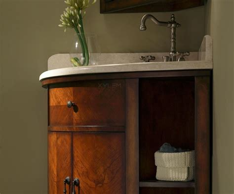 corner vanity cabinet bathroom carlton 37 inch corner bathroom vanity cherry veneer finish