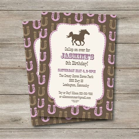personalized birthday invitations horse by littlebeaneboutique horse invitation horse birthday party western party